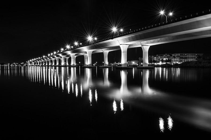 Long Bridge by Brad . - Black & White Buildings & Architecture ( reflecton, riverside, bright, night, bridge )