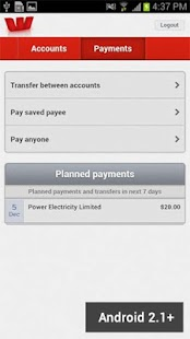 Westpac NZ Mobile Banking - screenshot thumbnail