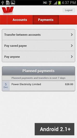 Westpac NZ Mobile Banking - screenshot