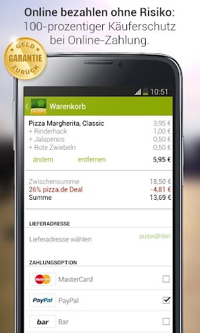 android pizza.de - Essen bestellen Screenshot 7