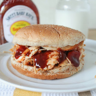 Slow Cooker BBQ Shredded Chicken Sandwiches.