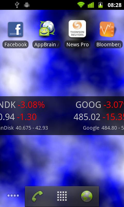 Android Stocks Tape Widget - screenshot