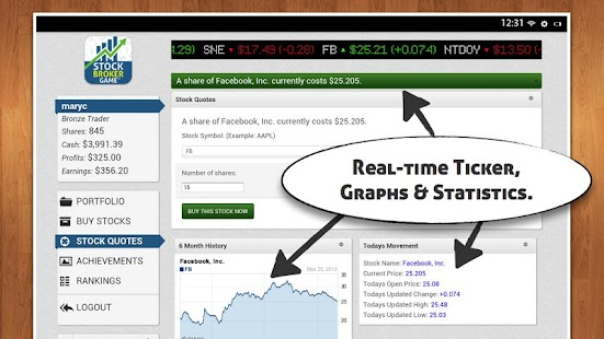 Stock Broker Game - $10K free
