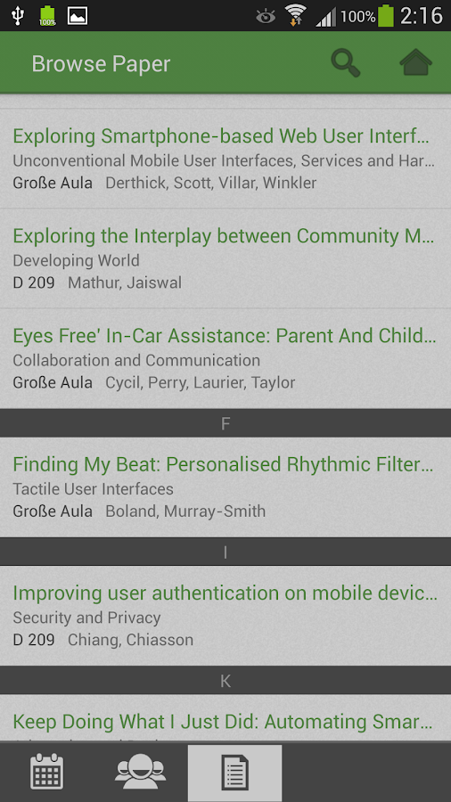 MobileHCI 2013 – Screenshot