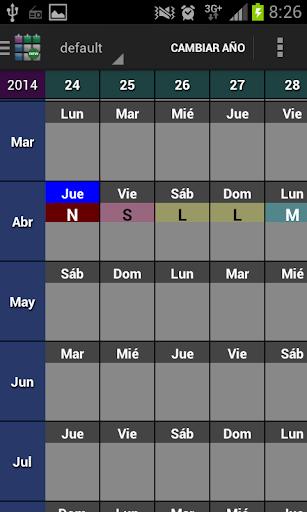 SaTurnos New Calendar