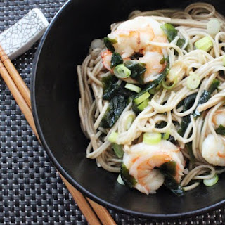 Soba Noodles with Shrimp and Wakame.