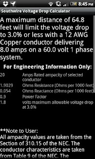 Southwire Volt Drop Calculator - screenshot thumbnail