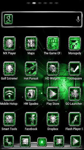 【免費個人化App】Chromed Lightning Multi Green-APP點子