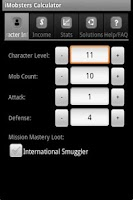 Screenshot of iMobsters Calculator