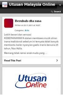 Utusan Malaysia Online - screenshot thumbnail