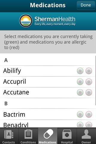 Sherman Health I.C.E. App - screenshot