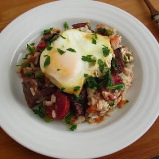Stewed Meat With Rice And Poached Eggs