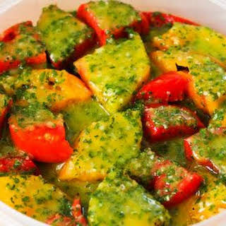 Marinated Tomato Salad with Parsley and Marjoram Dressing.