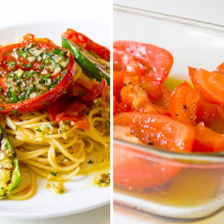 Spaghetti all'Aglio e Olio with Marinated Summer Vegetables