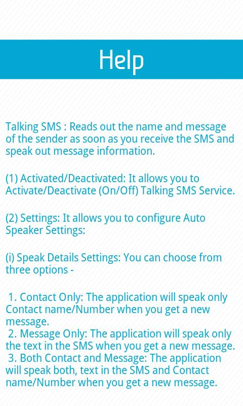 Talking SMS - screenshot