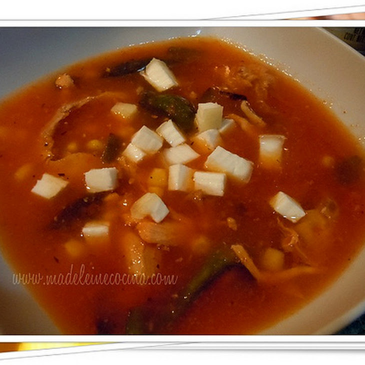 Tomato Soup with Poblano Peppers, Corn, and Chicken Recipe