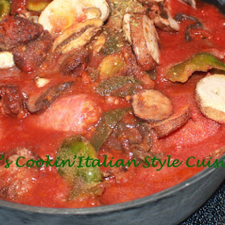 Sausage Mushroom and Peppers Cabernet Sauce.