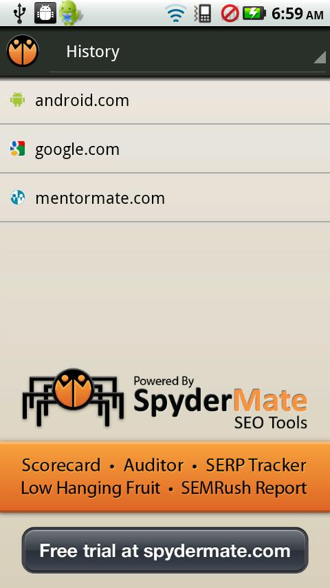 SpyderMate SEO Scorecard Free - screenshot