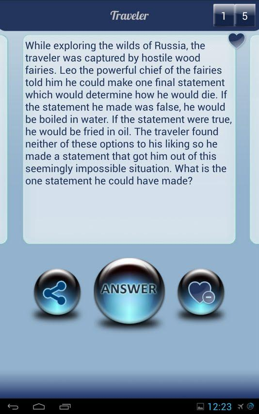 Riddles, Brain Teasers, Logic (Android) reviews at Android