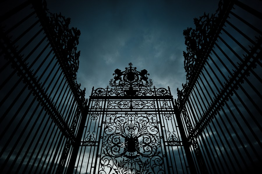 I Don't Belong Here by Marc Shur - Buildings & Architecture Architectural Detail ( sky, california, cemetery, dark, architectural, cloudy, wrought iron, evil, gate )