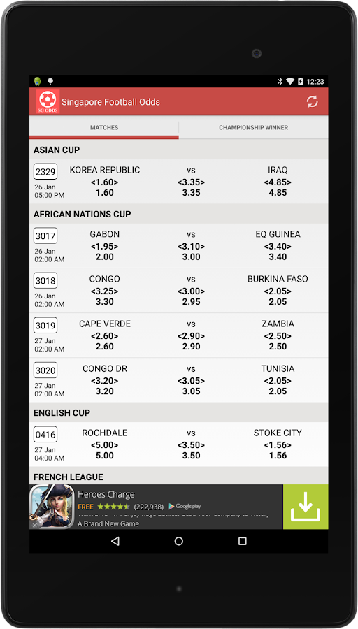 Singapore Football Odds- screenshot