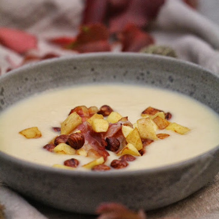 Celery Veloute  with Apples, Toasted Hazelnuts, and Bacon