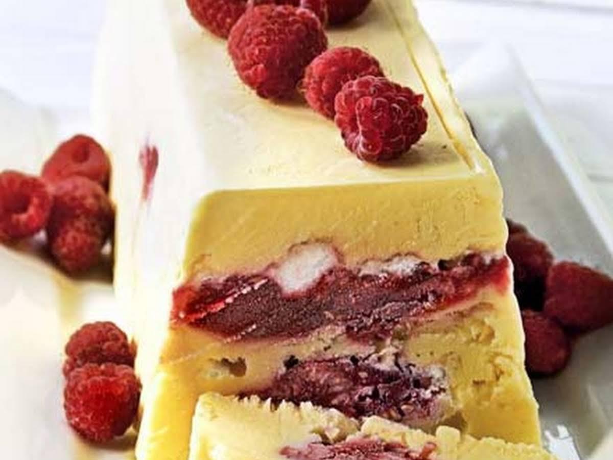 Raspberry Meringue Ice Cream Cake
