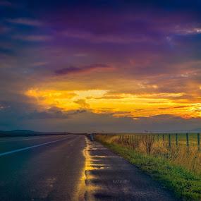 Freeway sunset by Stoyan Katinov - Landscapes Sunsets & Sunrises ( sunny, sunset, beautiful, sunshine, road, sunrise, landscapes, landscape, freeway,  )