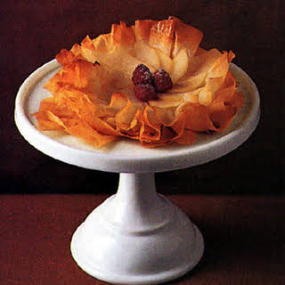 Pear and Raspberry Phyllo Flowers.