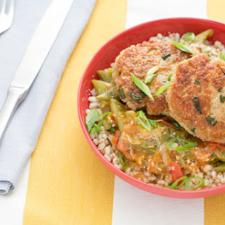 Parmesan-Basil Chicken Patties with Braised Romano Beans & Barley