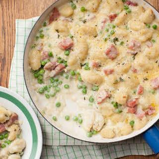 Cheesy Gnocchi Casserole with Ham and Peas.