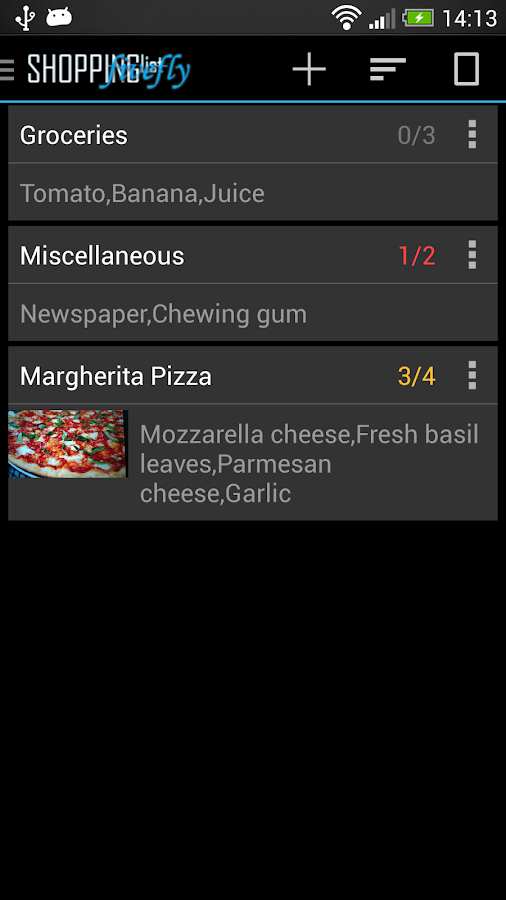 Shopping list license - screenshot