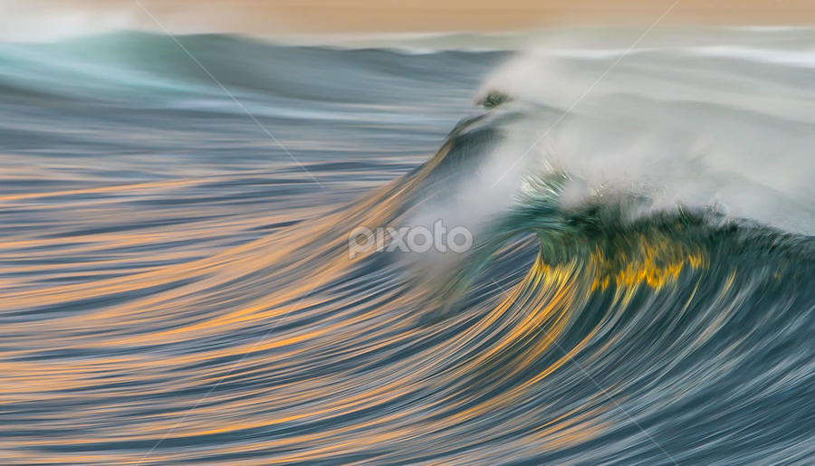 Fire and Water by Clive Wright - Nature Up Close Water ( water, sunset, wave, sea, ocean, fire )