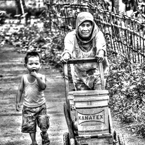 WITH MY MOTHER by Gia Gusrianto - Black & White Street & Candid ( 2110214 )