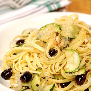 Linguine with Zucchini, Garlic, Black Olives, and Toasted Breadcrumbs