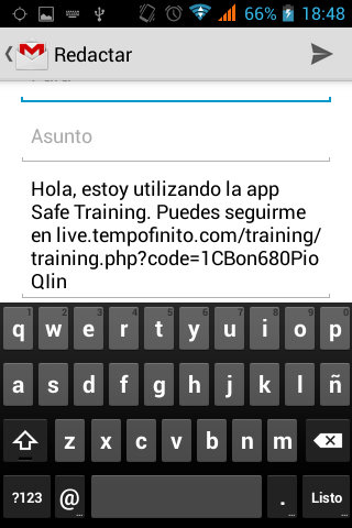 Tempo Finito: safe training: captura de pantalla