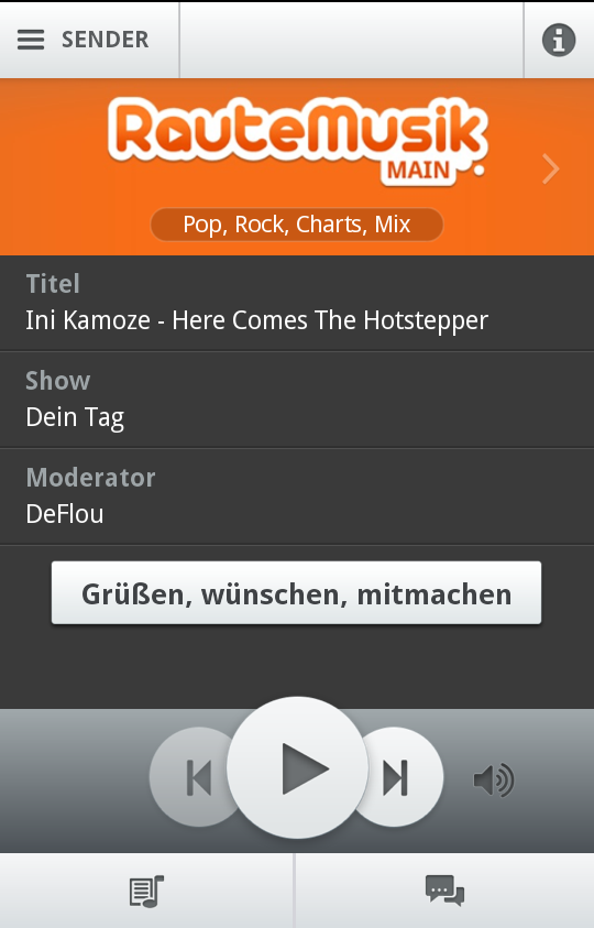 RauteMusik.FM Internetradio – Screenshot