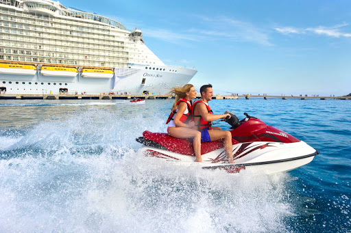 Oasis-of-the-Seas-jetski - Hop on one of Oasis of the Seas' jetskis and get an adrenaline rush of sights and sounds while zipping along the shoreline.