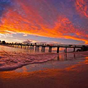 Red White and Blue by Chris Wilson - Landscapes Waterscapes ( water, naples, sunset, summer, pier, gulf of mexico, beach, seascape, landscape )