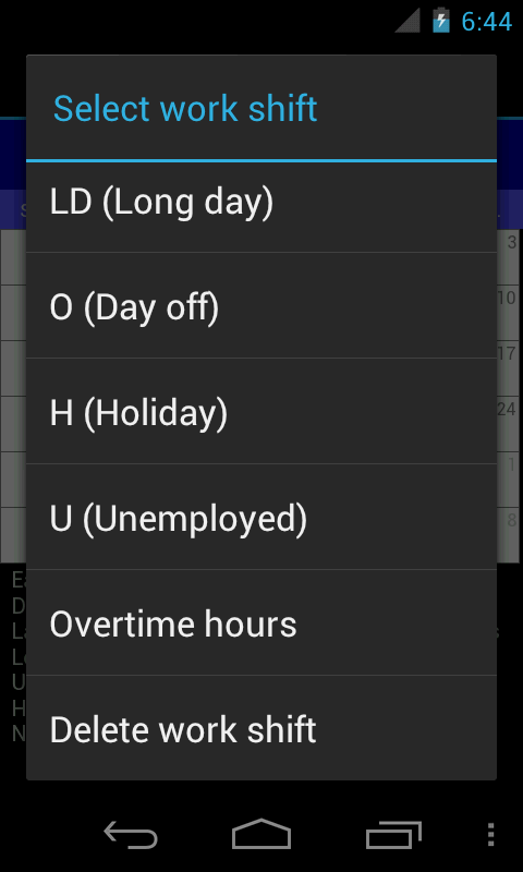 Work Shift Calendar- screenshot