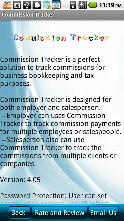 Commission Tracker- screenshot