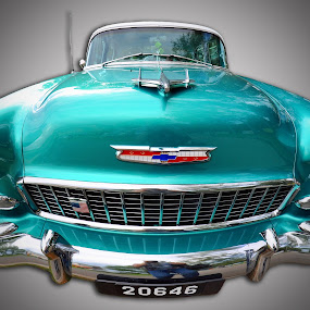 Green Party Delight by Marco Bertamé - Transportation Automobiles ( car, vintage, chevrolet, green, american, chrome, floodlight, oldtimer, bumper, luxembourg,  )
