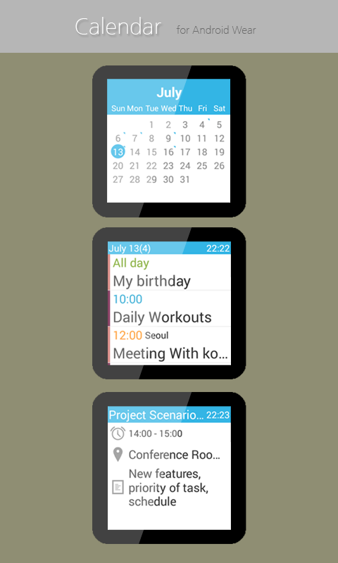 Calendar for Android Wear- screenshot