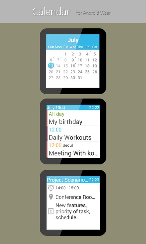 Calendar for Android Wear - screenshot