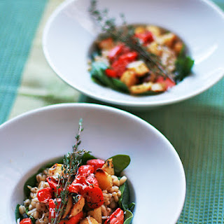 Barley Risotto with Roasted Root Vegetables and Spinach.