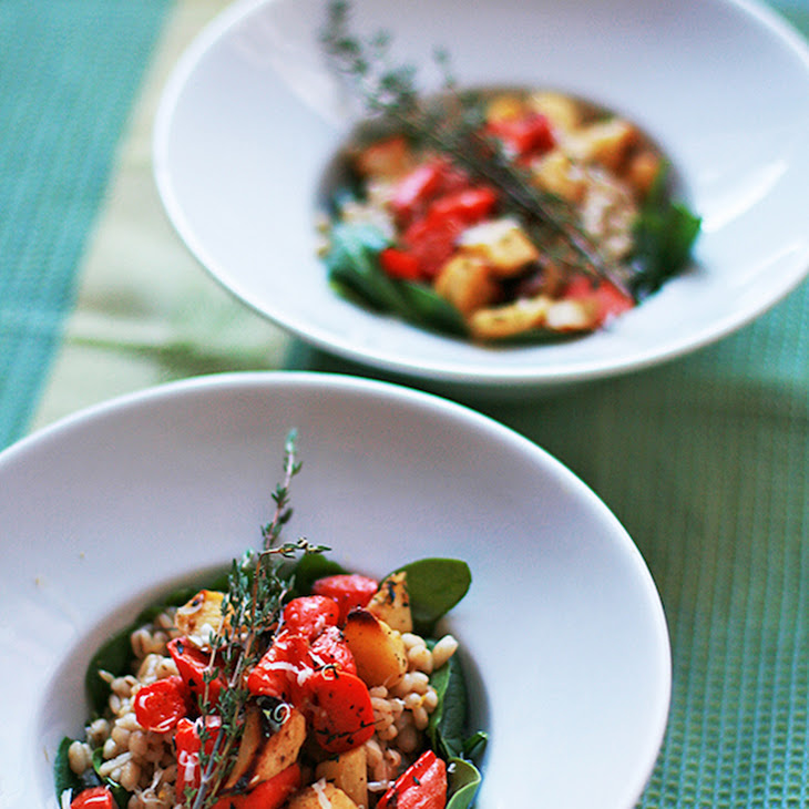 Barley Risotto with Roasted Root Vegetables and Spinach Recipe