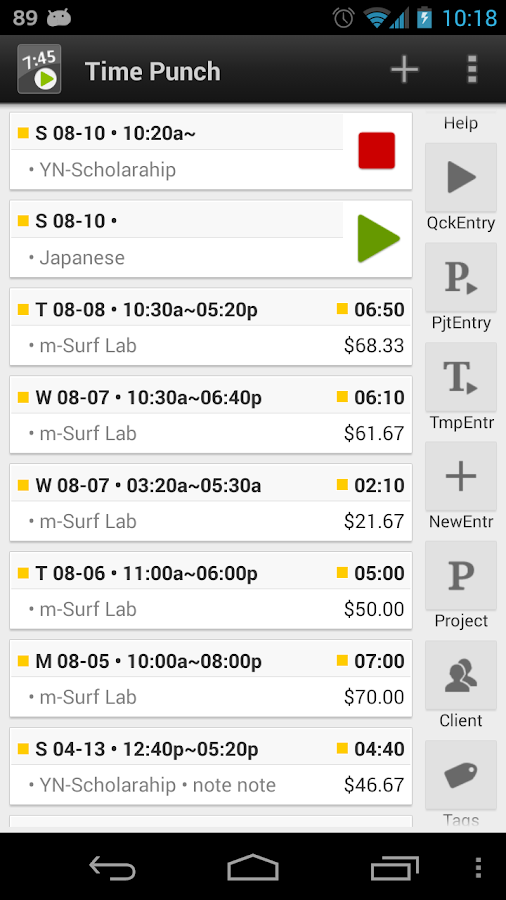 Time tracker, TimePunch Pro- screenshot