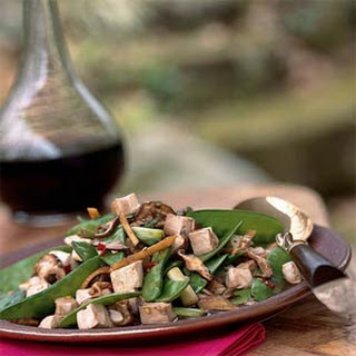 Stir-Fried Tofu, Shiitake Mushrooms, and Chinese Peas.