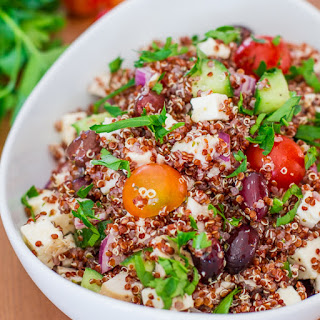 Greek Chicken Red Quinoa Salad.