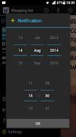 Screenshot of Shopping list voice input